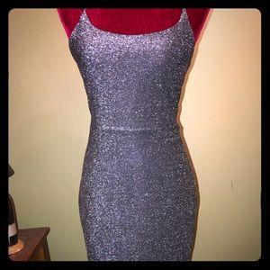 Gunmetal Glitter Bodycon Dress NWOT Sz L